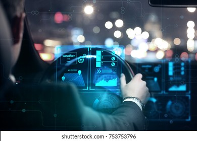 Close up of businessman hands driving car with abstract glowing digital interface. Transportation and display concept. 3D Rendering