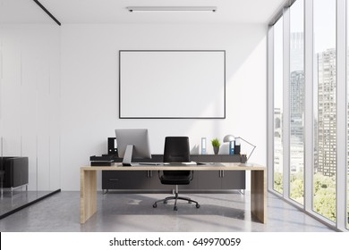 Close up of a CEO office interior with a wooden table, a computer standing on it, a framed poster on a white wall and glass walls. 3d rendering, mock up