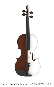 Close up of classical brown white violin isolated on white background, String instrument, 3d rendering