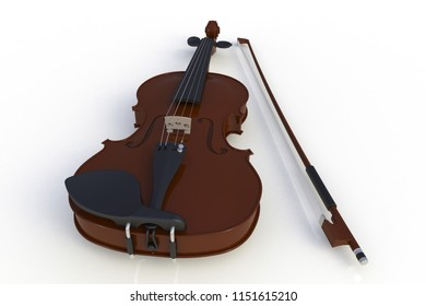 Close up of classical violin with bow isolated on white background, String instrument, 3d rendering