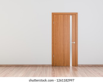 Close up of closed modern bright wooden door with wooden floor on gray background wall. Free space concept. 3D  rendering