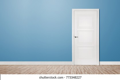 Close up of closed wooden door in the empty room with copy space