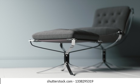 Close up of comfortable armchair near the wall. 3d illustration