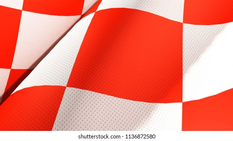 Close up of Croatian red and white check board waving flag .3D rendering