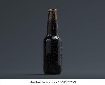 Close up of dark beer glass bottle on black backround, 3d rendering.