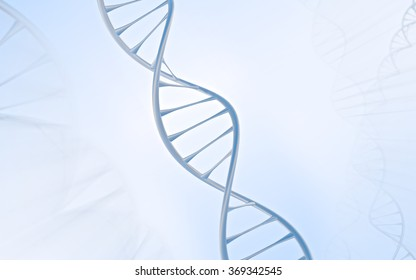 Close DNA Double helix, metal with white and blue background 2 of 2