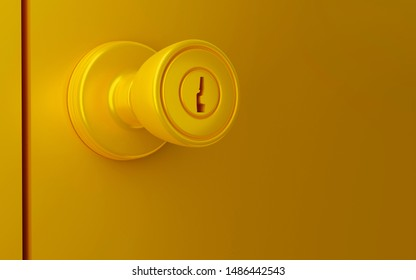Close up door knob. 3d render.