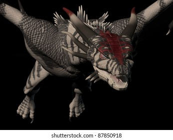 Close up of a dragon flying in to attack, 3d digitally rendered illustration on black background