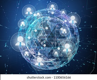 Close up of the Earth in the dark blue background and a network on top of it. Concept of globalisation. 3d illustration.