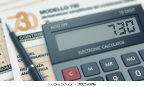 close up of an electronic calculator with the number 730 on screen and a tax form on background, concept of italian tax (3d render)
