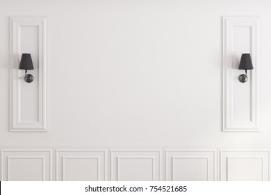 Close up of empty white classic wall with lamps and copy space. Mock up, 3D Rendering