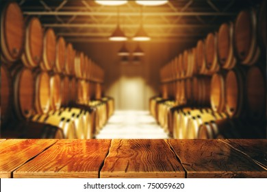 Close up of empty wooden table with blurry wine barrels in the background. Winery and alcohol concept. 3D Rendering