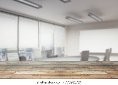 Close up of empty wooden table, surface or counter with blurry office wallpaper. Copy space, 3D Rendering