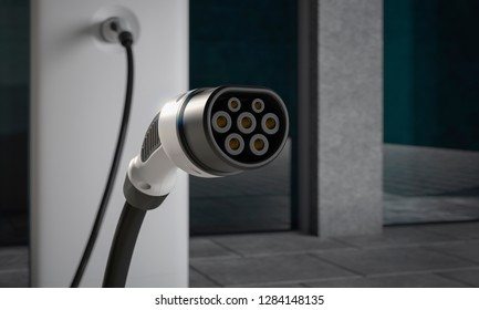 Close up of EV charging plug in a city environment close up 3d illustration