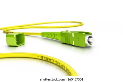 Close up of a fiber optic patchcord over white background with blur effect