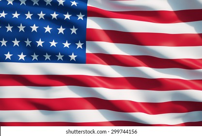 Close up of the flag of the United State of America.The USA Flag Drapery.