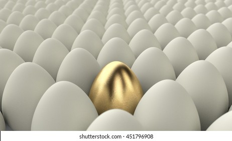 Close up of a golden egg among regular eggs. 3D render with nice depth of field.
