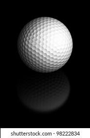 Close up of a golf ball over a black background, the golfball is located at the center of the image, there is room for text and reflection