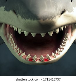 A close up of a great white shark's open mouth showing rows of sharp teeth ready to take a bite out of an unfortunate beach goer. 3D Rendering
