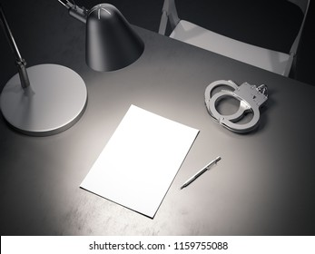 Close up of grey table with switched-on lamp, handcuffs and paper sheet above in dark interrogation room, 3d rendering.