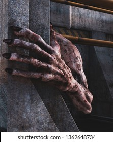 Close up hand of a Monster creature hiding in abandoned sewer,3d rendering