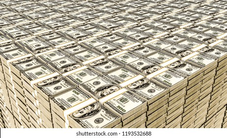 close up of a huge dollar stack 3d illustration