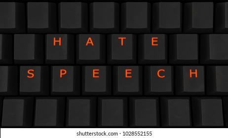 Close Up of Illuminated Glowing Keys on a Black Keyboard Spelling Hate Speech 3d illustration