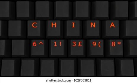Close Up of Illuminated Glowing Keys on a Black Keyboard Spelling China 61398 3d illustration