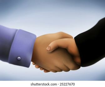 a close up illustration of two men in business attire engaging in a handshake