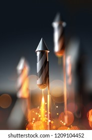 A close up image of a firework rocket about to launch into the night sky. 3D illustration.