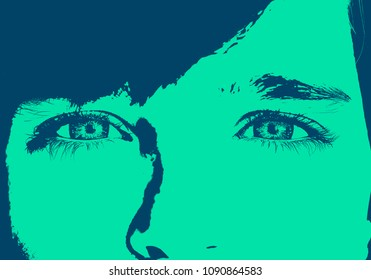 Close up image of insightful look human eyes. Duotone photo effect, concept photo.