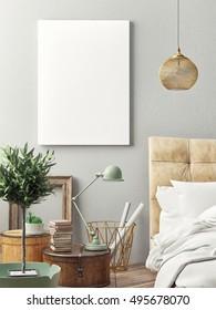 Close up interior beddoor, mock up poster, 3d ilustration
