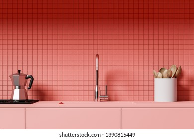 Close up of kitchen counter with built in sink and stove and jar with wooden spoons standing in room with pink tile walls. 3d rendering