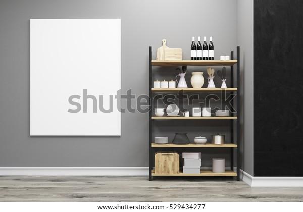 Đóng lên của một tủ bếp đứng gần một bức tường màu xám với một tấm áp phích dọc treo trên đó. 3d render. Mạo lên