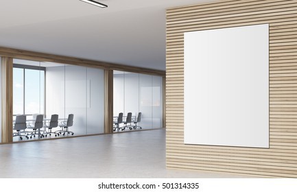 Close up of large vertical poster hanging on wooden wall in corridor with two conference rooms. 3d rendering. Mock up