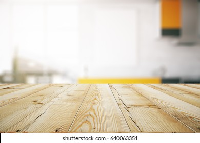 Close up of light wooden table. Blurry interior in the background. Mock up, 3D Rendering