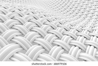 Close up look at interlaced fiber, curved fiber constructed with plural threads in 3d rendering