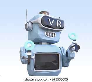 Close up of low poly retro robot wearing VR headset on light blue background. 3D rendering image.
