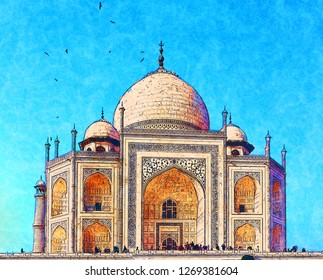 Close up of the majestic Taj Mahal in India illustration