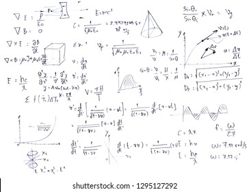 Close up mathematical equations on a sheet of paper