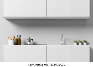 Close up of minimalistic kitchen with light gray walls, light gray countertops with built in sink and stove and cooking appliances and light gray cabinets above them. 3d rendering
