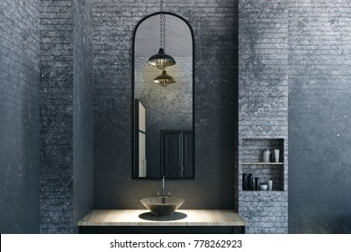 Close up of mirror and sink in modern loft bathroom interior. 3D Rendering