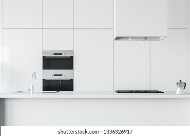 Close up of modern kitchen interior with white countertops with built in sink and cooker and white cabinet with two built in ovens. 3d rendering