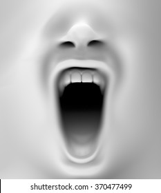 close up with a mouth screaming