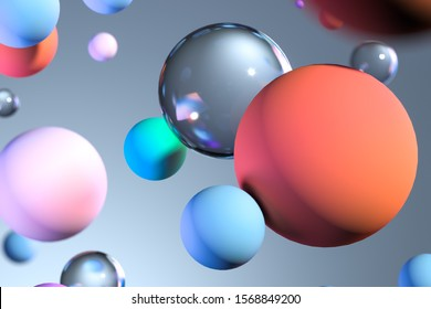 Close up of Multicolored transparent glossy and matte glass balls as abstract background. 3d rendering.