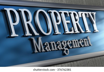 Close up of an office facade where it is written property management. Real Estate concept