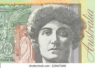 Close up on Australian dollar banknotes, Portrait AUD dollar for background and detail