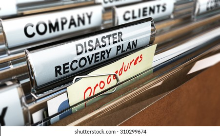 Close up on a file tab with the text Distaster Recovery Plan, focus on the main text and blur effect. Concept image for illustration of DRP ans crisis communication.