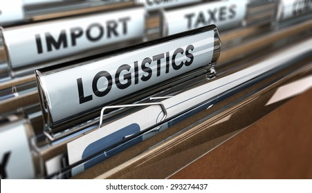 Close up on a file tab with the word logistics, focus on the main text and blur effect. Concept image for illustration of supply chain management.