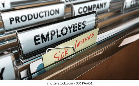 Close up on a file tab with the word employees plus a note with the text sick leaves, blur effect at the background. Concept image for illustration of sick leave entitlement.